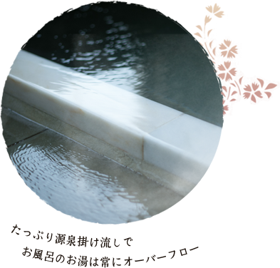 たっぷり源泉掛け流しでお風呂のお湯は常にオーバーフロー